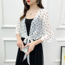 Lace / Chiffon Summer 2020 Black background wave point, white background wave point M (recommended 80-110 kg), l (recommended 110-128 kg), XL (recommended 128-148 kg), 2XL (recommended 148-165 kg) elbow sleeve Versatile Cardigan singleton  easy have cash less than that is registered in the accounts