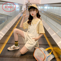 suit KORSZ Yellow (T-shirt + suspenders), girl, girl 120cm,130cm,140cm,150cm,160cm,170cm female summer Korean version Short sleeve + pants 2 pieces Thin money There are models in the real shooting Socket nothing stripe cotton children Giving presents at school MLTBBDK026158 Class A Chinese Mainland