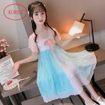 Dress Blue skirt, pink skirt, blue skirt, pink skirt female KORSZ 110cm,120cm,130cm,140cm,150cm,160cm Cotton 100% summer Chinese style Short sleeve Embroidery Chiffon A-line skirt MNYYFH022013 Class B Chinese Mainland Shanghai