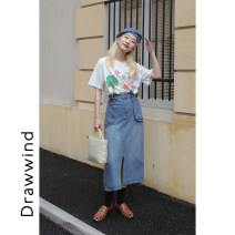 skirt Spring 2021 S,M,L Denim blue Mid length dress commute High waist A-line skirt Solid color Type A 18-24 years old More than 95% DRAWWIND cotton