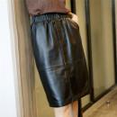 skirt Autumn of 2019 M,L,XL,2XL,3XL black Mid length dress sexy High waist skirt Solid color Type O Sheepskin Other / other Sheepskin