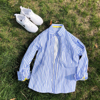 shirt Youth fashion Others M,L,XL,2XL blue Thin money square neck Long sleeves easy Other leisure Four seasons youth like a breath of fresh air 2020 stripe Color woven fabric tie-dyed cotton 80% (inclusive) - 89% (inclusive)