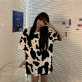 T-shirt Cow - white M L XL Spring 2021 Short sleeve Crew neck easy Medium length routine commute polyester fiber 86% (inclusive) -95% (inclusive) 18-24 years old Korean version youth Love Mengwei 2803-1 Polyester 95% polyurethane elastic fiber (spandex) 5% Exclusive payment of tmall