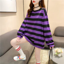 T-shirt Purple black stripe red blue stripe blue green stripe yellow black stripe black and white stripe M L XL Autumn 2020 Long sleeves Crew neck easy Medium length routine commute polyester fiber 86% (inclusive) -95% (inclusive) 18-24 years old Korean version youth Love Mengwei 6107-4