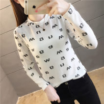 T-shirt White black yellow M L XL XXL Autumn 2020 Long sleeves Crew neck Self cultivation have cash less than that is registered in the accounts routine commute polyester fiber 86% (inclusive) -95% (inclusive) 18-24 years old Korean version youth Love Mengwei Exclusive payment of tmall