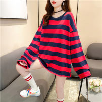 T-shirt Red blue stripe Blue Green Stripe Black Purple Stripe Yellow Black Stripe Black White Stripe M L XL Autumn 2020 Long sleeves Crew neck easy Medium length routine commute polyester fiber 86% (inclusive) -95% (inclusive) 18-24 years old Korean version youth Love Mengwei 6107-1