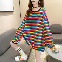 T-shirt M L XL Autumn 2020 Long sleeves Crew neck easy Medium length routine commute polyester fiber 86% (inclusive) -95% (inclusive) 18-24 years old Korean version youth Love Mengwei Polyester 95% polyurethane elastic fiber (spandex) 5% Exclusive payment of tmall