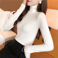 T-shirt Avocado Green denim blue white black Khaki dark grey brown M L XL Autumn 2020 Long sleeves High collar Self cultivation Regular routine commute polyester fiber 86% (inclusive) -95% (inclusive) 18-24 years old Korean version youth Love Mengwei 3531-7 Exclusive payment of tmall