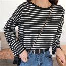 T-shirt M L XL XXL Autumn of 2018 Long sleeves Crew neck easy Medium length routine commute other 96% and above 18-24 years old Korean version originality Thin horizontal stripe Jia Rouzi printing Other 100%