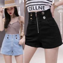 Jeans Summer 2021 Light blue, dark blue, black S,M,L,XL shorts High waist Wide legged trousers routine 18-24 years old Cotton elastic denim Dark color 81% (inclusive) - 90% (inclusive)