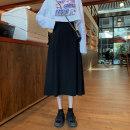skirt Spring 2021 S,M,L black Mid length dress commute High waist A-line skirt Solid color Type A Under 17 czf42 Korean version