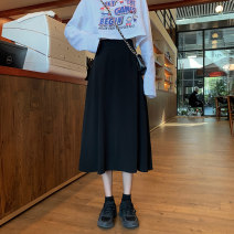 skirt Spring 2021 S,M,L black Mid length dress commute High waist A-line skirt Solid color Type A Under 17 czf42 Korean version