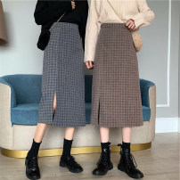 skirt Spring 2021 S, M Blue, coffee Mid length dress commute High waist A-line skirt lattice Type A Under 17 A33 51% (inclusive) - 70% (inclusive) Korean version