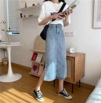 skirt Summer 2021 S,M,L,XL blue Mid length dress commute High waist Denim skirt Solid color Type A 18-24 years old P 91% (inclusive) - 95% (inclusive) Denim Korean version