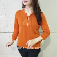 sweater Spring 2020 M,L,XL,2XL,3XL Nine point sleeve Socket singleton  Regular other 95% and above V-neck Regular commute routine Solid color Self cultivation bow Tencel
