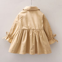 Plain coat female 90cm 100cm 110cm 120cm 130cm spring and autumn Korean version Single breasted No model routine nothing Solid color cotton Crew neck Other 100% other Spring 2020