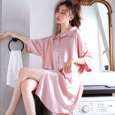 Nightdress A.D Hepburn C965158 pink, c965158 white, c965158 dark blue, c965158 rose red S,M,L,XL,XXL,XXXL Simplicity three quarter sleeve pajamas Middle-skirt summer Solid color youth Small lapel Button decoration 81% (inclusive) - 95% (inclusive) silk C965158 Pink