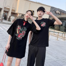 T-shirt Youth fashion thin S M L XL 2XL 3XL Seven tides and eight tides Short sleeve Crew neck standard Other leisure summer Cotton 75% polyester 20% polyurethane elastic fiber (spandex) 5% Couples dress routine Chinese style Cotton wool Summer 2021 Animal design printing Cotton polyester