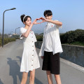 shirt Youth fashion Seven tides and eight tides S M L XL 2XL 3XL Men's shirt men's shirt + shorts women's dress Thin money square neck Short sleeve Self cultivation Other leisure summer GT08 lovers Cotton 75% polyester 25% tide 2021 Solid color Color woven fabric Summer 2021 No iron treatment cotton