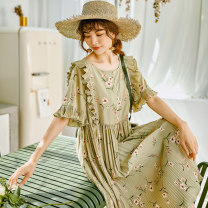 Dress Summer 2020 Yellow green - book, yellow green - stock S,M,L longuette singleton  elbow sleeve commute Crew neck Loose waist Decor Single breasted Pleated skirt pagoda sleeve Others 18-24 years old Type H Korean version Ruffles, buttons, stitching, three-dimensional decoration More than 95%