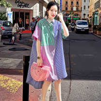 Dress Summer 2020 Stripe spot, stripe order M, S longuette singleton  elbow sleeve street Crew neck Loose waist stripe other Irregular skirt raglan sleeve Others 18-24 years old Type H Button, stitching More than 95% other cotton Europe and America