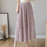 skirt Summer 2021 M, L Mid length dress commute High waist Pleated skirt Broken flowers Type A 25-29 years old 51% (inclusive) - 70% (inclusive) Chiffon other Fold, print Korean version