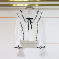 shirt white S,M,L,XL Spring 2021 other 71% (inclusive) - 80% (inclusive) Long sleeves other Doll Collar Socket pagoda sleeve Solid color 18-24 years old Chiffon