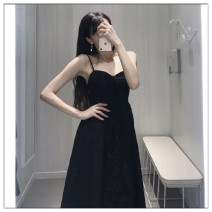 Dress Summer 2020 Black, white longuette singleton  Sleeveless street V-neck High waist Solid color Single breasted Big swing other camisole Type X Button Europe and America