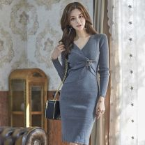 Dress Summer of 2019 Black, gray Average size Middle-skirt singleton  Long sleeves V-neck middle-waisted Solid color Socket One pace skirt