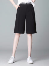 Casual pants Dark blue, white, black S,M,L,XL,2XL,3XL,4XL,5XL Summer of 2019 Pant Wide leg pants High waist commute Thin money 40-49 years old 51% (inclusive) - 70% (inclusive) other Korean version pocket polyester fiber