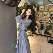 Dress Summer 2020 S,M,L Mid length dress singleton  Long sleeves commute Crew neck High waist Solid color Socket A-line skirt pagoda sleeve Others 25-29 years old Retro Three dimensional decoration, bandage 71% (inclusive) - 80% (inclusive) other polyester fiber