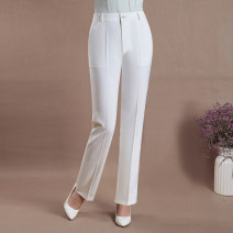 Middle aged and old women's wear Summer 2020 leisure time trousers Straight cylinder Solid color 40-49 years old thin pocket polyester 91% (inclusive) - 95% (inclusive) Leisure trousers