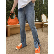 Women's large Summer 2021 Blue, black 30,32,34,36,38,40 Jeans singleton  commute moderate Solid color Korean version Denim Xin Cun Zhen 25-29 years old trousers