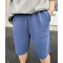 Women's large Summer 2021 Blue, black, dark grey Large XL, large 2XL, large 3XL trousers singleton  commute moderate Solid color Korean version Cotton, others Xin Cun Zhen 25-29 years old Pant