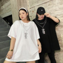 Women's large Summer 2021 Black, white Big average, small average T-shirt singleton  commute easy moderate Socket Short sleeve Cartoon animation, solid color Korean version Crew neck Medium length cotton Xin Cun Zhen 25-29 years old 91% (inclusive) - 95% (inclusive)