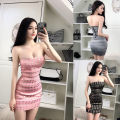 Dress Spring of 2018 Pink, black, silver black, apricot gold, silver white S,M,L Short skirt singleton  Sleeveless commute One word collar middle-waisted Solid color zipper Pencil skirt other Breast wrapping Korean version