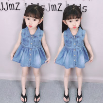 Dress Denim pleated skirt female Other / other Height 80cm, height 90cm, height 100cm, height 110cm, height 120cm, height 130cm Other 100% summer princess Skirt / vest Solid color Denim A-line skirt 12 months, 18 months, 2 years old, 3 years old, 4 years old, 5 years old, 6 years old