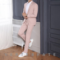 Suit Youth fashion Others Pink routine Flat lapel Back middle slit Four seasons Self cultivation A single breasted button wedding youth Polyester fiber 70% viscose fiber (viscose fiber) 27% polyurethane elastic fiber (spandex) 3% Regular collar (collar width 7-9cm)