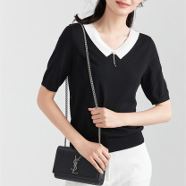 Wool knitwear Summer 2021 155/36/S,160/38/M,165/40/L,170/42/XL,175/44/XXL black Short sleeve singleton  Socket other 81% (inclusive) - 90% (inclusive) Regular routine commute V-neck routine Socket Ol style 30-34 years old Sound