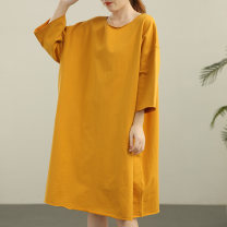 Dress Summer 2021 Black, white, green, yellow Average size Mid length dress singleton  three quarter sleeve commute Crew neck Loose waist Solid color Socket Big swing routine Others Type A Green cotton literature Fold, splice 91% (inclusive) - 95% (inclusive) other cotton