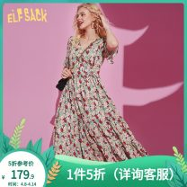 Dress Summer 2020 Colorful world S M L Mid length dress singleton  Short sleeve commute V-neck High waist Socket Ruffle Skirt Lotus leaf sleeve 18-24 years old Type X Goblin's pocket lady wave ten million two hundred thousand one hundred and eighty More than 95% other Other 100%