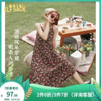 Dress Summer 2020 M Mid length dress singleton  Sleeveless commute V-neck middle-waisted Socket A-line skirt 18-24 years old Type A Goblin's pocket Retro fold More than 95% polyester fiber Polyester 100% Same model in shopping mall (sold online and offline)