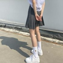 skirt Summer 2021 S,M,L Apricot, light brown, light yellow, gray, black, army green Short skirt commute High waist Pleated skirt Solid color Type A 18-24 years old 31% (inclusive) - 50% (inclusive) other polyester fiber zipper Korean version