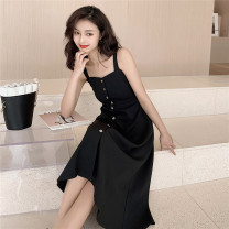 Dress Summer 2020 black S,M,L,XL Mid length dress singleton  Sleeveless commute One word collar middle-waisted Solid color Single breasted Big swing other camisole 18-24 years old Type A Other / other literature Button 31% (inclusive) - 50% (inclusive)