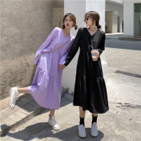 Dress Spring 2021 Purple, black Average size Mid length dress singleton  Long sleeves commute V-neck High waist Solid color Socket Cake skirt routine Others 18-24 years old Type A Other / other Korean version fold 91% (inclusive) - 95% (inclusive) other other
