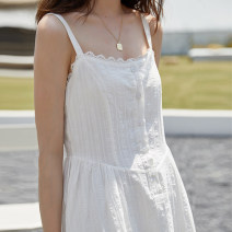 Dress Summer 2020 white S,M,L longuette singleton  Sleeveless commute One word collar High waist Solid color Single breasted A-line skirt camisole 18-24 years old Type A literature Button 31% (inclusive) - 50% (inclusive)