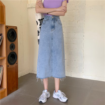 skirt Spring 2021 S,M,L,XL blue longuette commute High waist A-line skirt Solid color Type A 18-24 years old 31% (inclusive) - 50% (inclusive) Denim cotton pocket Korean version