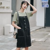 Dress Summer 2021 S,M,L Middle-skirt singleton  Sleeveless commute One word collar High waist Solid color Socket A-line skirt camisole 18-24 years old Korean version pocket 31% (inclusive) - 50% (inclusive) Denim cotton