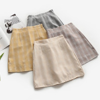 skirt Summer of 2018 S,M,L Short skirt Sweet High waist A-line skirt lattice Type A 18-24 years old 31% (inclusive) - 50% (inclusive) Other / other college