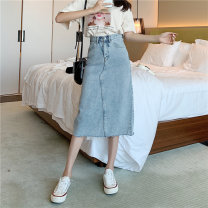 skirt Summer 2020 S [90-100 kg], m [100-110 kg], l [110-120 kg], XL [120-135 kg], 2XL [135-150 Jin], 3XL [150-165 kg], 4XL [165-175 Jin], 5XL [175-200 Jin] Mid length dress commute High waist A-line skirt other Type A 18-24 years old 51% (inclusive) - 70% (inclusive) Denim JSWETR cotton